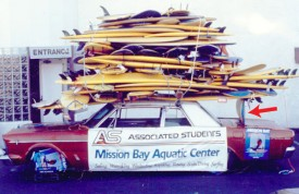 Word Record Surfboards stacjked on a car