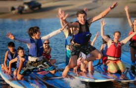 Campers having fun on SUP's
