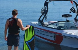 Wakeboarder with Nautique and Liquid Force equipment