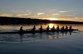 Rowing at sunrise